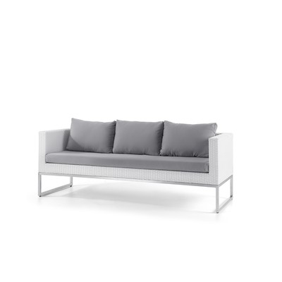 Outdoor3-Seater Sofa - Stainless Steel and Wicker - CREMA White