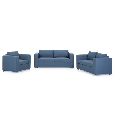 Upholstered Sofa Set - 3 Seater - 2 Seater - Arm Chair - HELSINKI Blue