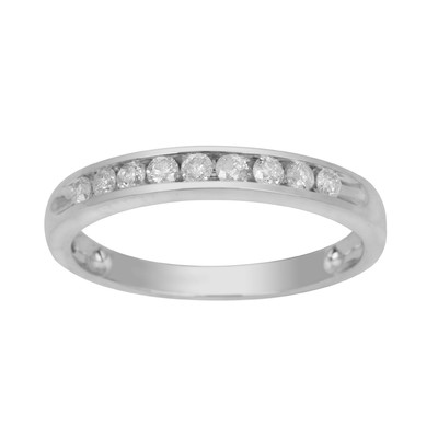 10kt White Gold Channel Anniversary Ring with Round Diamonds