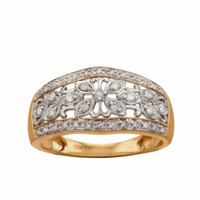 10kt Yellow Gold Diamond Floral Ring