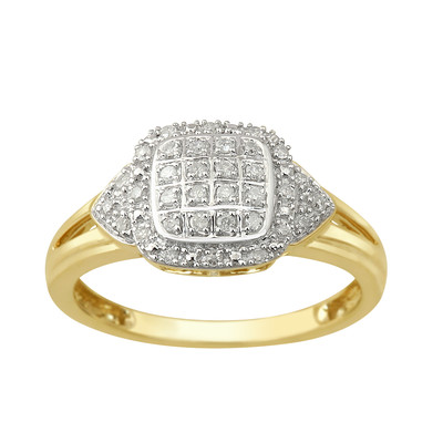 10kt Yellow Gold Diamond Square Top Ring