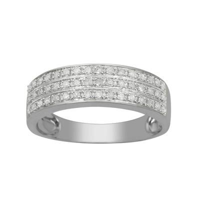 10kt White Gold Diamond Triple Row Wedding Band