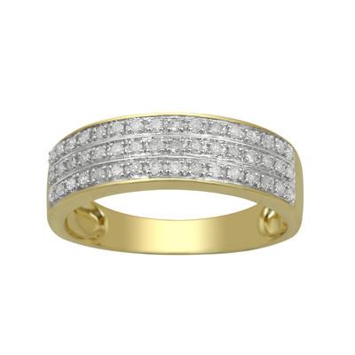 10kt Yellow Gold Diamond Triple Row Wedding Band