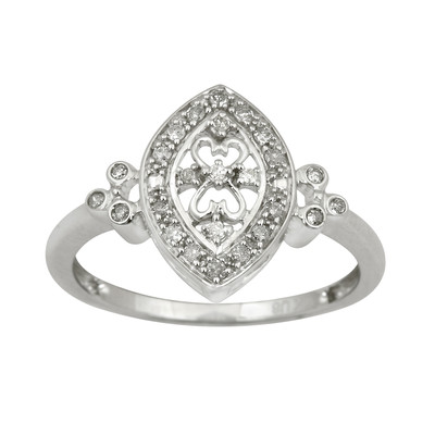 10kt White Gold Vintage Marquise Style Ring with Diamonds