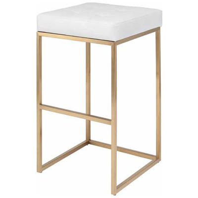 Chi Brushed Gold Stainless Counter Stool in White - Set of 2