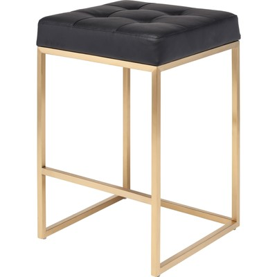 Chi Brushed Gold Stainless Counter Stool in Black - Set of 2