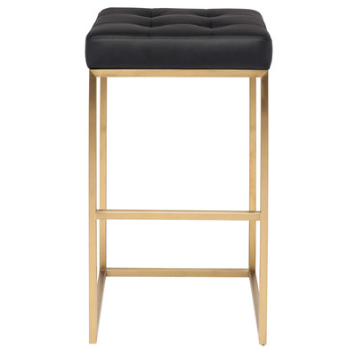 Chi Brushed Gold Stainless Bar Stool in Black - Set of 2