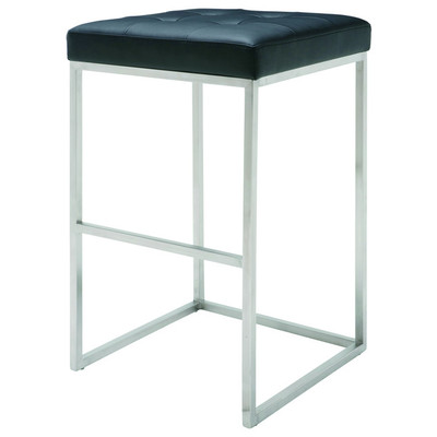 Chi Brushed Stainless Bar Stool in Black - Set of 2