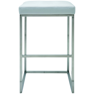 Chi Brushed Stainless Bar Stool in White - Set of 2