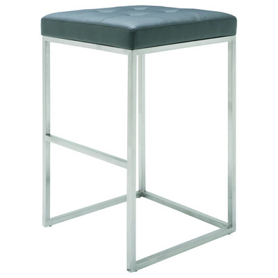 Chi Brushed Stainless Bar Stool in Grey - Set of 2