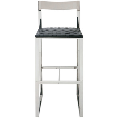 Camille Leather Bar Stool in Black & Chrome - Set of 2