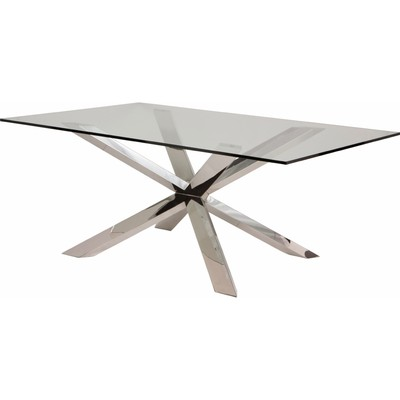 Couture Glass Dining Table 94 x 44  Polished Stainless