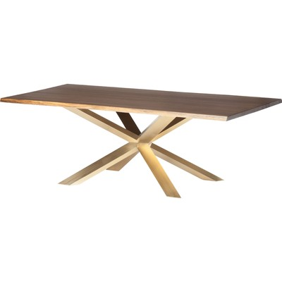 """Seared Oak Couture Dining Table 40"""" x 96"""" Brushed Gold"""