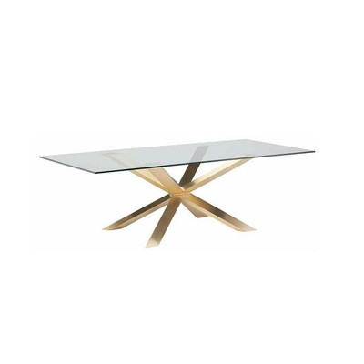 Couture Glass Dining Table 78¾ x 39½  Brushed Gold