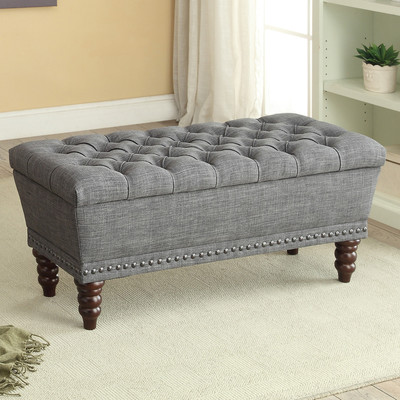 BUTTON TUFTED GREY FABRIC STORAGE BENCH