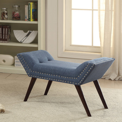 Fabric Bench with Nailhead Detail - Blue