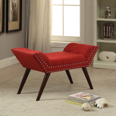 RED FABRIC BENCH WITH NAILHEAD DETAIL