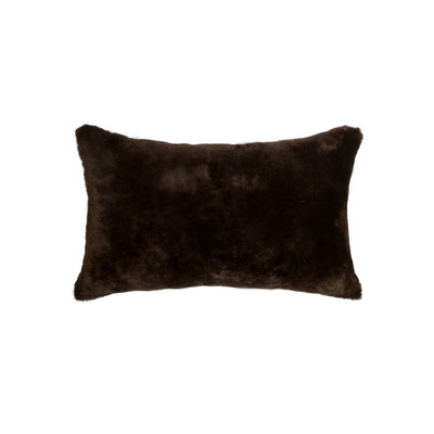 "Nelson Sheepskin Pillow 12"" X 20"" Chocolate"