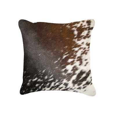 "Torino Cowhide Pillow 18"" X 18"" Brown & White"