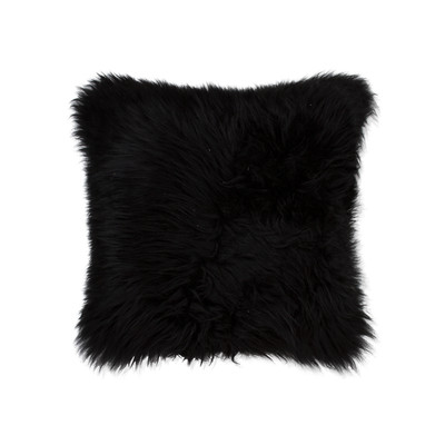 "New Zealand Sheepskin Pillow 18"" X 18"" Black"
