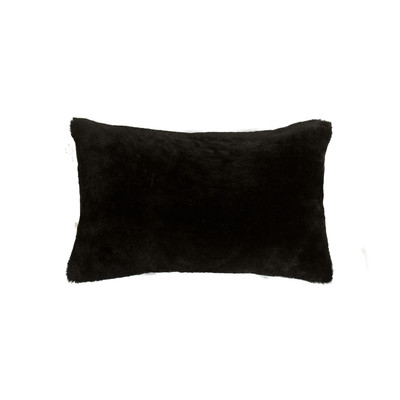 "Nelson Sheepskin Pillow 12"" X 20"" - Black"