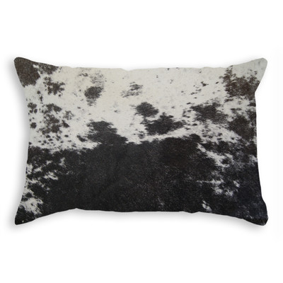 "Torino Cowhide Pillow 12"" X 20"" S&P/ Black & White"