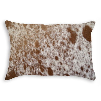 "Torino Cowhide Pillow 12"" X 20"" S&P/Brown & White"