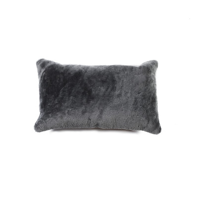"Nelson Sheepskin Pillow 12"" X 20"" Gray"