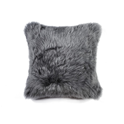 "New Zealand Sheepskin 18"" X 18"" Pillow - Gray"