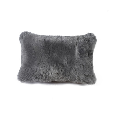 "New Zealand Sheepskin Pillow 12"" X 20"" Gray"
