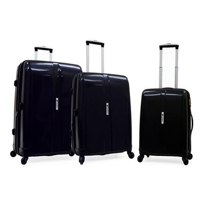 Samboro Shuttle Hardside Luggage Expandable Spinner 3 PC Set - Black Color