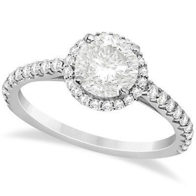 Halo Diamond Engagement Ring with Side Stone Accents in Palladium 1.00cw