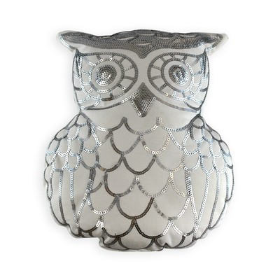 Silver Owl Pillow - Poly Insert