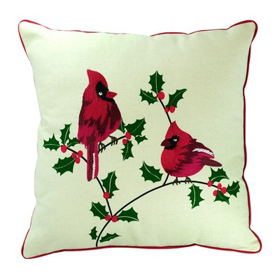 Birds in Christmas Pillow