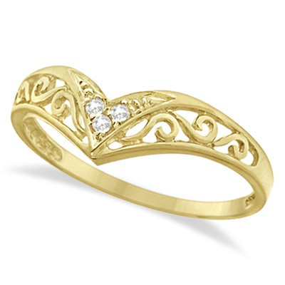 0.05ct Antique Style Chevron V shaped Diamond Filigree Ring Band 14k Yellow Gold