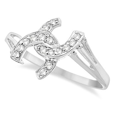 0.10ct Diamond Horseshoe Fashion Right Hand Promise Ring in 14K White Gold