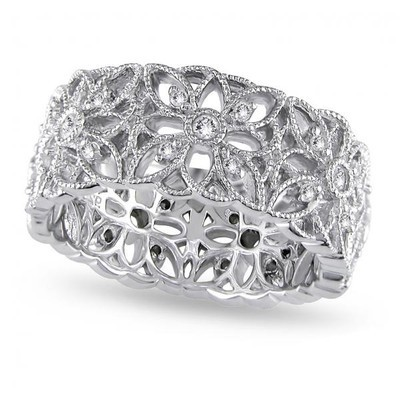 Ladies Diamond Accent Carved Flower Band Prong Set in Sterling Silver 0.33ct