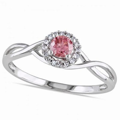 Women's Pink Diamond and Diamond Engagement Ring in 14k White Gold (0.40ct)