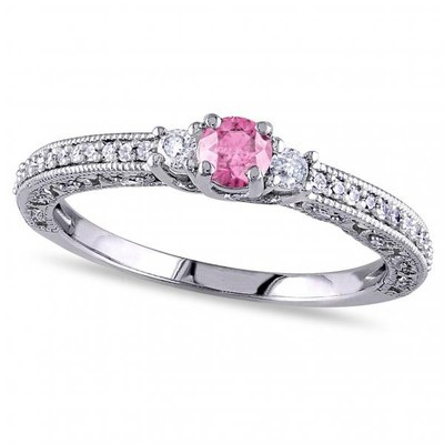 Women's Pink and White Diamond Three Stone Engagement Ring in 14k White Gold (0.50ct)