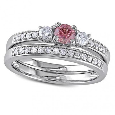 Women's Pink and White Diamond Three Stone Bridal Set in 14k White Gold (0.50ct)