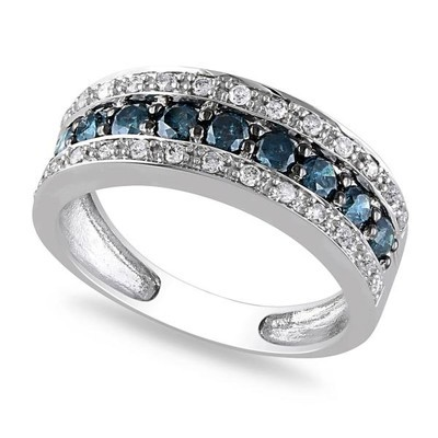 Women's Blue and White Diamond Three Row Wedding Band in 14k White Gold (0.75ct)