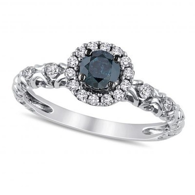 Women's Blue and White Diamond Halo Engagement Ring in 14k White Gold (0.50ct)