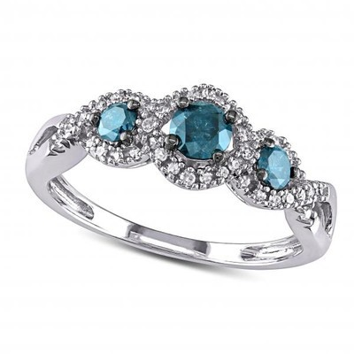 Dazzling Blue and White Diamond Twisted Three Stone Ring 14k White Gold (0.50ct)