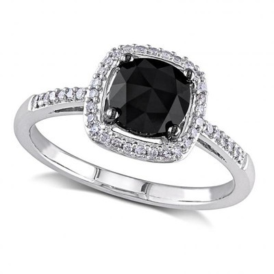 Women's Black and White Diamond Engagement Ring in 14k White Gold (1.00ct)
