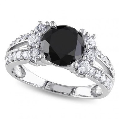 Women's Black and White Diamond Engagement Ring in 14k White Gold (2.66ct)