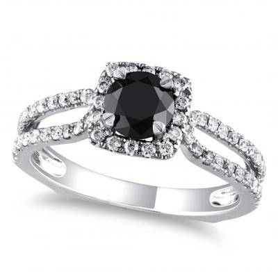 Women's Black and White Diamond Dual Shank Engagement Ring in 14k White Gold (1.20ct)