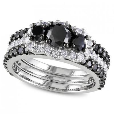 Women's Black and White Diamond Three Stone Three Row Fashion Ring in 14k White Gold (2.00ct)