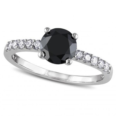 Women's Black and White Diamond Engagement Ring in 14k White Gold (1.25ct)