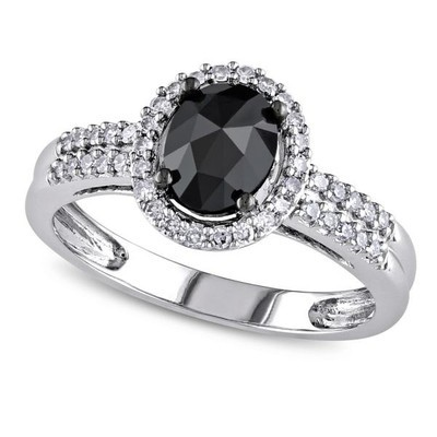 Women's Black and White Diamond Oval Engagement Ring in 14k White Gold (1.00ct)