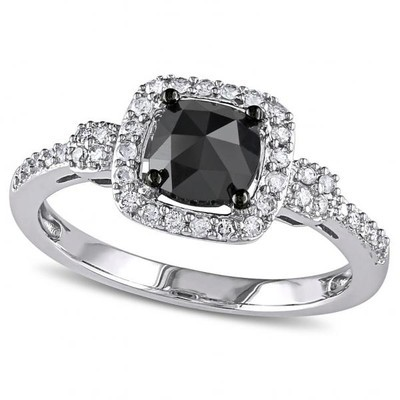 Women's Black and White Diamond Halo Engagement Ring in 14k White Gold (0.00ct)